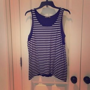 Navy & White Double layer tank with split back